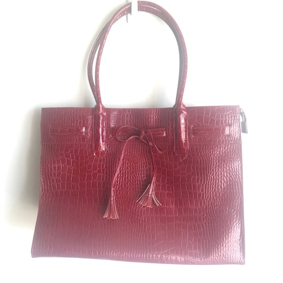 Handbags - Croc Wine Embossed Extra Large Tote Bow Accent